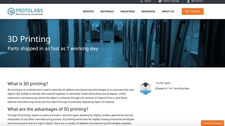 Protolabs's website.