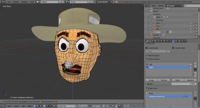Creating a shape key in Blender.
