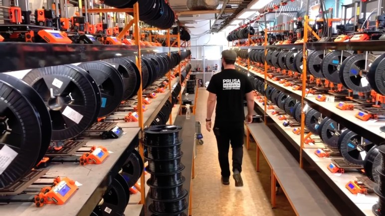 3D Printing farm used for the production of Prusa 3D printer parts.