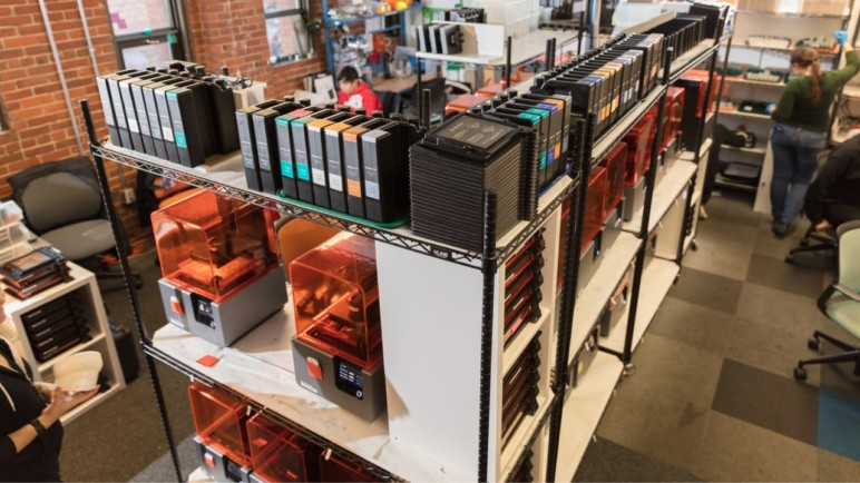 Formlabs's 3D printing farm used for the production of sample parts.