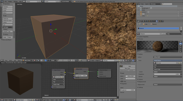 A texture partially applied to a cube in Blender.