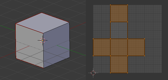 A cube and its UV map.