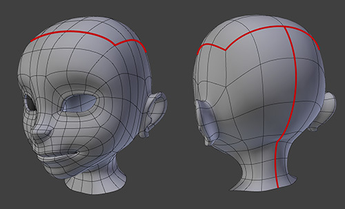A head 3D model with marked seams.