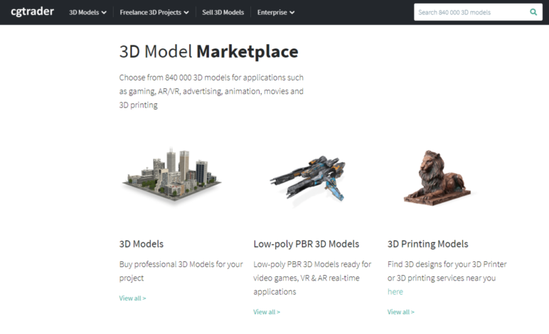 CGTrader feels more like a marketplace for the sale of 3D models compared to the other options.