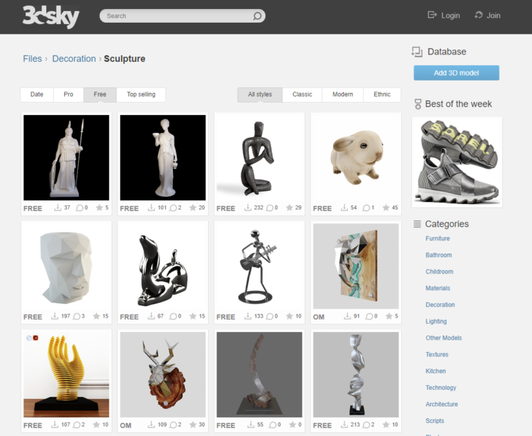 An assortment of free sculpture designs.