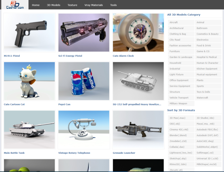 This site is full of free 3D models.