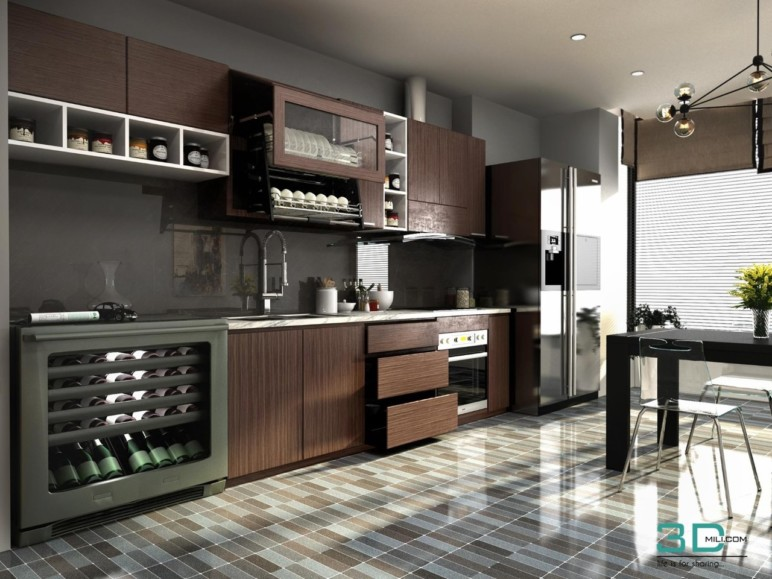 A kitchen created in 3DS Max.